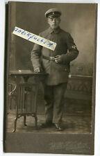 Kabinett-Foto : Deutscher Freikorps-Soldat mit Ärmelabzeichen Geweih mit 15