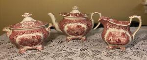 Antique Red Transferware Teapot & Creamer & Sugar