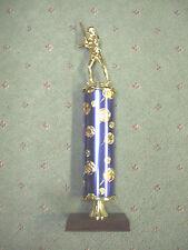 blue theme column trophy softball female award