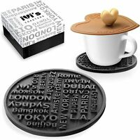 Premium Silicone Coasters for Drinks, Set of 6, Large Size, Non Slip, Cup Lid