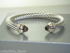 DAVID YURMAN  7MM SMOKY QUARTZ 14K YELLOW GOLD & STERLING SILVER CUFF BRACELET