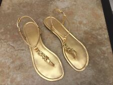 "Tory Burch Gold ""Shane-Metallic Mestizo"" SZ 10 Ankle Strap Sandals"