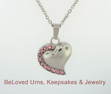 Heart With Pink Stones Cremation Jewelry Keepsake Pendant Memorial Urn Necklace