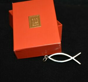 """Retired James Avery Large 1.75"""" Sterling Ichthus Fish Open Work Pendant in Box"""