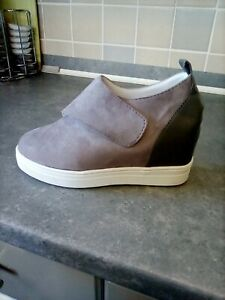 Ladies Grey Ankle Boots Size 4 With Built In Wedge And  New