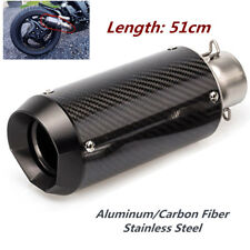 CNC 51mm Motorcycle Carbon Fiber Round Slip-On Ehaust Muffler 38-51mm  Adaptor