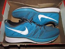 Nike Flyknit Trainer Mens Running Shoes 10.5 Neo Turquoise Dark Grey 532984 410
