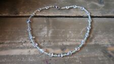 """Sterling Silver Iridescent Heart Bead Necklace 15"""""""