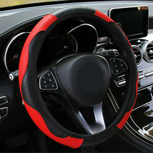 Red Car Interior Microfiber Leather Steering Wheel Cover 38cm/15'' Accessories