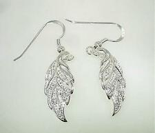 Hawaiian Maile Leaf Cz Hook Earrings #1 9.5mm Rhodium Over Solid 925 Ster Silver