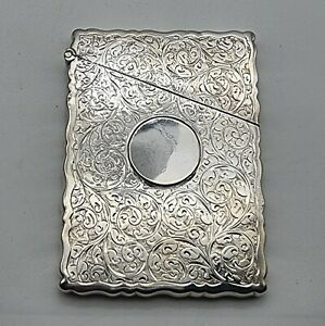NICE GOOD CONDITION ANTIQUE STERLING SILVER CARD CASE CHESTER 1901