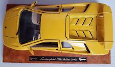 NEW, YELLOW LAMBORGHINI DIABLO, ON A WOODEN BASE, SCALE : 1;18, MADE BY BURAGO .