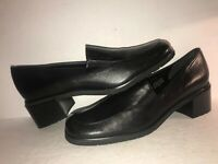 EASENTIALS SZ 8 1/2 N BLACK LEATHER SLIP ON WOMEN LOAFERS PUMPS SHOES WS6-5-8