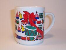 Holiday Christmas Coffee Mug Hot Chocolate Egg Nog Toys Trains Drums Big Red Bow