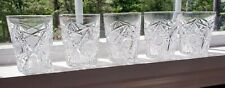 Set of 5 Vintage Ornately Cut Crystal Highball Cocktail Glasses Old Fashioned