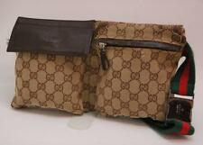 Auth Gucci GG Canvas Monogram Waist Belt Bum Bag Fanny Pack Shelly Brown 810a