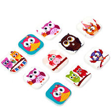 500pcs Wholesale Mixed Color Cartoon Owl Animal Patterns Square Wooden Buttons L