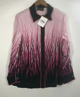 NWT Bob Mackie Wearable Art Women's Size M Blouse Button Down Shirt