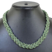 """Top Natural Zambian Emerald Necklace 16.50"""" Facetted Beads 925 Silver Clasp"""