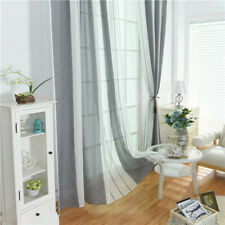 Gray Linen Sheer Tulle Curtains Living Room Stripe Curtains Bedroom Curtains S