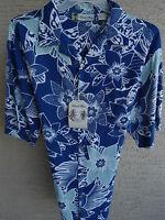 MENS ISLAND BLUE HAWAIIAN SHIRT SHADES OF BLUE  FLORAL PRINT L
