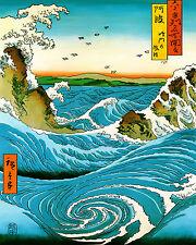 Hiroshige Art Tile Asian Chinese Ceramic Wall Hanging Navaro Rapids Painting