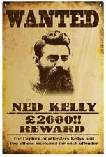 NED KELLY 'WANTED' Poster  RUSTIC  TIN SIGN