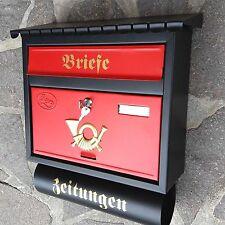 XXL Briefkasten Postkasten Schwarz Matt / Rot +Zeitungsfach Katalogeinwurf Neu