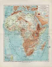 Landkarte map 1924: AFRIKA Fluß- und Gebirgssysteme. africa Sahara Sudan Guinea