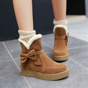 Women Ankle Snow Boots Flat Fleece Lined Winter Bowknot Platfrom Shoes Suede sz