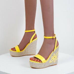 Womens High Wedge Heel Sandals Platform Buckle Peep Toe Slingback Slim Sandals