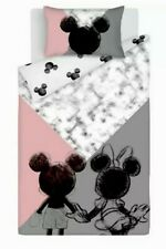 Mickey And Minnie Mouse Duvet Cover - SINGLE Reversible Bedding Pink Grey New