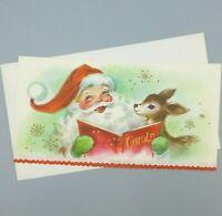 Vintage Christmas Card Santa Singing with Reindeer Coronation 1950s w/ Envelope