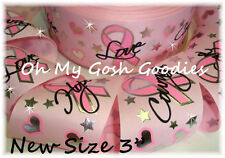 """3"""" BREAST CANCER AWARENESS BLING GROSGRAIN RIBBON 4 CHEER TIC TOC BOW PINK"""