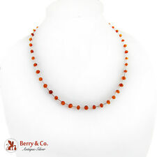 Amber Bead Strand Necklace Sterling Silver