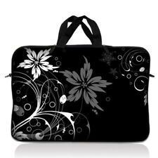 "15"" 15.6"" Laptop Notebook Sleeve Bag Case w Handle Black Floral 15-SD58"