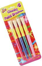 4 X Kids Chunky Plastic Paint Brushes Chubby Handle Childrens Art Craft Drawing