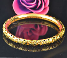 Fashion Bride Hollow Carved 18k Gold Plated Bangle Bracelet Wedding Jewelry