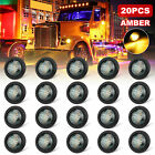 20x Smoked Amber 34 Bullet Round Led Side Marker Lights For Trailer Truck Rv