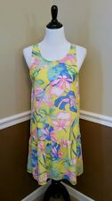 Modcloth Dress Redefine Radiance $59 Drop Waist 10 Yellow Tropical Floral Retro