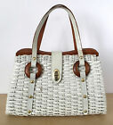 Vintage 50's White Wicker Vinyl Leather Handle Wood Trim Clasp Handbag Purse