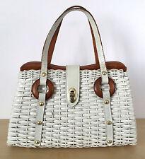 Vintage 50's White Wicker Vinyl Leather Handle Wood Trim Clasp Handbag Purse