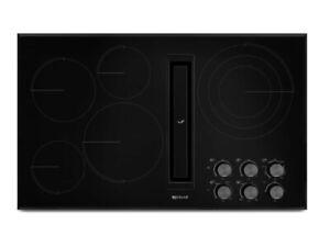 """New Jenn-Air JED3436GB01 36"""" 5 Burner Electric Cooktop W/ Downdraft & Blower"""