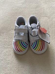 No Box Vans Toddler Old Skool V Shoes Flour Shop Leather Rainbow White Size 5T