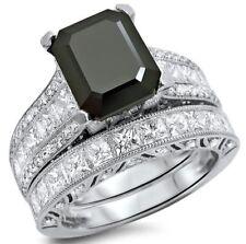 5.55 Ct Black Emerald Diamond Engagement Wedding Ring Set 925 Sterling Silver