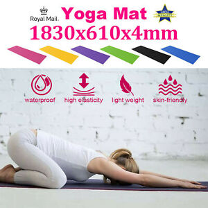 61x 183cm Yoga Mat 4mm Thick Gym Exercise Fitness Pilates Workout Mat Non Slip