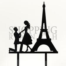 Engagement Cake Topper Mr & Mrs Paris Eiffel Tower Black Acrylic Decoration