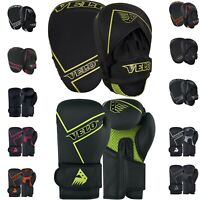 VELO Boxing Pads and Gloves Training Hook Focus Punch Mitts Matt Leather Set