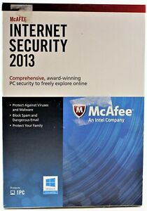 McAfee Internet Security 2013 1 PC  Retail Box Disc For Windows XP 7 8