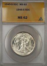 1945-S Walking Liberty Silver Half Dollar 50c ANACS MS 62 (Better Coin)